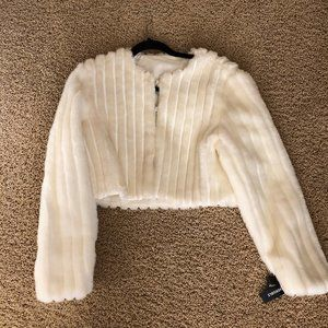 Vintage Faux Fur White Cropped Jacket with Sequins
